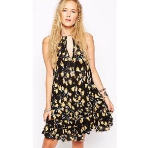 FREE PEOPLE Feather Ruffled Floral Slip Mini Dress